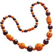 Art Deco Carved Celluloid Orange & Brown Vintage Necklace