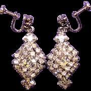 Fabulous Square & Chaton Rhinestone Vintage Dangle Screwback Earrings