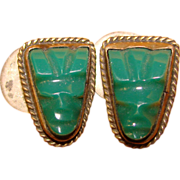 Awesome Vintage MEXICAN STERLING & Carved Green Stone Face Cufflinks