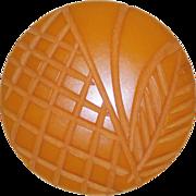 Gorgeous Carved Bakelite Amber Orange Vintage Estate Button