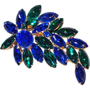 Fabulous Blue & Green Rhinestone Vintage Estate Pin Brooch