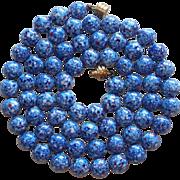 Fabulous Blue Art Glass Beads Long Vintage Estate Necklace