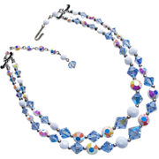 Fabulous BLUE CRYSTAL & Aurora Milkglass 2 Strand Vintage Estate Necklace