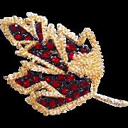 Gorgeous RED RHINESTONE Geometric Leaf Vintage Estate Pin Brooch