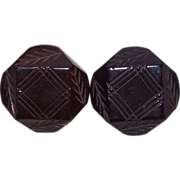 Fabulous Carved Bakelite Pair of Vintage Estate Buttons