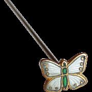 Antique Enamel Butterfly Estate Hat Pin