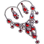 Fabulous Red Glass & Clear Rhinestone Vintage Runway Necklace Set