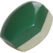 Laminated CELLULOID Green & Ivory Colors Vintage Estate Button