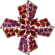 Fabulous RED & FUCHSIA PINK Rhinestone Vintage Estate Pin Brooch