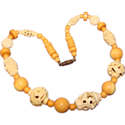 Gorgeous Art Deco CARVED CELLULOID Cream & Amber Vintage Estate Necklace