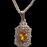 Tiny Art Deco Gold Filled Amber Stone Filigree Pendant Necklace