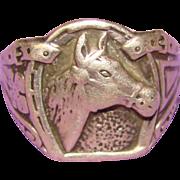 Wonderful Sterling Silver Gentleman's HORSE Design Ring
