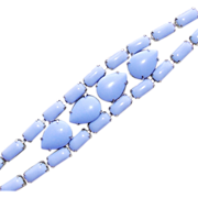 Gorgeous Blue Opaque Glass Stones Vintage Estate Bracelet