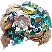 Gorgeous GREEN RHINESTONE Mixed Colors Vintage Estate Pin Brooch