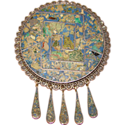 Fabulous TAXCO STERLING Mexican Mosaic Stone Vintage Estate Pendant Brooch