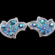 Gorgeous PEACOCK GREEN AURORA & Blue Rhinestone Vintage Estate Clip Earrings