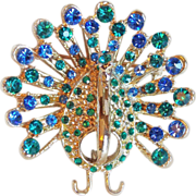 Fabulous PEACOCK Vintage Blue & Green Rhinestone Estate Pin Brooch