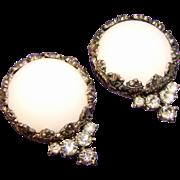 Huge KRAMER Signed Glass & Rhinestone Vintage Estate Earrings