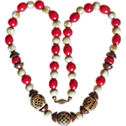Fabulous ART DECO CARVED CELLULOID Brown & Red Vintage Estate Necklace
