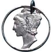 Vintage MERCURY HEAD DIME Cut Out Coin Estate Charm