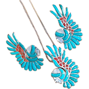 Fabulous FACE & EAGLE WING Sterling Turquoise Coral Vintage Set