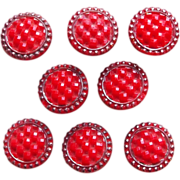 Antique Red Glass Estate Small Buttons