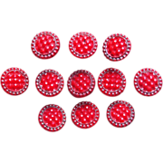 Antique Red Glass Estate Tiny Buttons