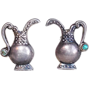 Sterling POSY HOLDER Mexican Silver Vintage Estate Earrings