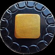 Huge ART DECO Black & Yellow Celluloid Vintage Estate Button
