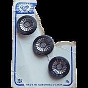 Gorgeous CZECH Black Glass Vintage Estate Buttons