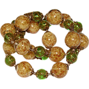 Fabulous  PERIDOT GREEN Venetian Murano Glass Vintage Estate Necklace