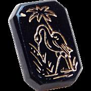 Antique BIRD Black Glass Estate Button