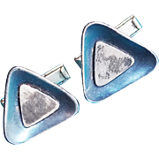 Gorgeous MEXICAN STERLING Mid Century Modern Modernist TRIANGLE Vintage Cufflinks