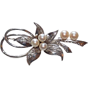 Gorgeous Sterling & Akoya Cultured Pearl Flower Design Vintage Estate Pin Brooch