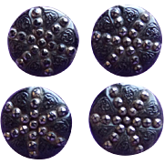Four Matching Antique Black Lacy Glass Victorian Estate Button Set
