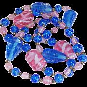 Gorgeous ART GLASS Pink & Blue Beads Vintage Estate Necklace