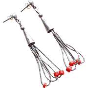 Gorgeous LIQUID SILVER Sterling & Coral Vintage Estate Pierced Earrings