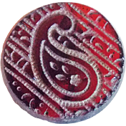 Antique Red Glass Paisley Small Estate Button