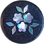 Antique Inlaid Abalone Estate Button