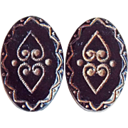 Antique Pair of Black Glass Heart Design Buttons