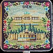 Fabulous PETIT POINT Vienna Austria Wien Unused Vintage Estate Powder Compact - Red Tag Sale Item