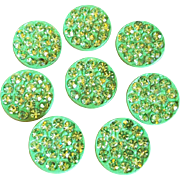 Awesome GREEN RHINESTONE & Enamel Vintage 1960s Buttons