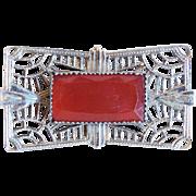 Edwardian or Art Deco Carnelian Glass Filigree Estate Pin Brooch