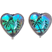 Gorgeous BUTTERFLY WING Sterling Palm Tree Heart Vintage Earrings