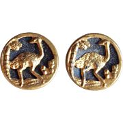 Tiny OSTRICH Antique Estate Buttons