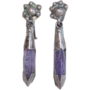 Gorgeous MEXICAN SILVER & Amethyst Vintage Estate Dangle Earrings