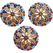Fabulous ENAMEL Antique Victorian Filigree Large Estate Buttons