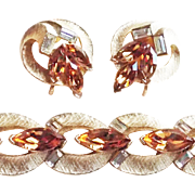 Fabulous LISNER Signed Fawn Rhinestone Vintage Estate Bracelet Set