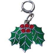 Awesome STERLING & ENAMEL Christmas Holly Vintage Estate Charm