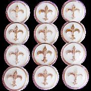 Vintage FLEUR DE LIS White Glass Estate Buttons